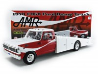 1/18 FORD VÉHICULES MINIATURE DE COLLECTION FORD F350 RAMP TRUCK - 1970-BLANC/ROUGE-ACME 1801401