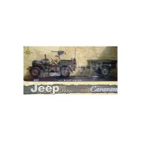 1/43 VEHICULE MILITAIRES JEEP WILLYS US ARMY AVEC REMORQUE ET PERSONNAGE-CARARAMACARAR149/001