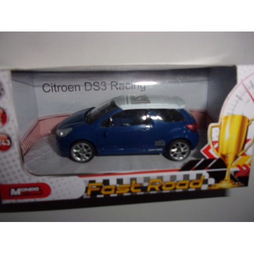 1 43 citroen ds3 racing bleu toit blanc mondomotors fast road vente de voitures miniatures. Black Bedroom Furniture Sets. Home Design Ideas
