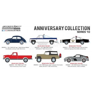 1/64 3-INCHES VÉHICULES MINIATURE DE COLLECTION COFFRET 6 ANNIVERSARY COLLECTION - SERIES 10-GREENLIGHT GREEN28020