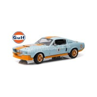 "1/18 FORD MUSTANG GT500 SHELBY ""GULF"" 1967 BLEU BANDES ORANGES (SHELBY HOOD)greenlight12954"