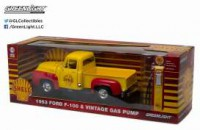 "1/18 VEHICULE MINIATURE FORD F-100 1953 ""SHELL OIL"" AVEC POMPE A ESSENCE-GREENLIGHT"