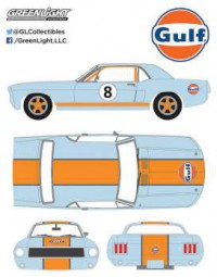 "1/18 VOITURE FORD MUSTANG COUPE ""GULF"" 1967 BLEU BANDES ORANGES-GREENLIGHTGREEN12989"