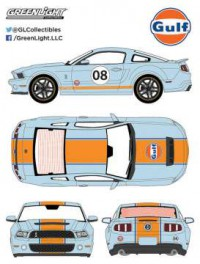 "1/18 FORD MUSTANG GT500 SHELBY ""GULF"" 2012 BLEU BANDES ORANGES-GREENLIGHTGREEN12990"