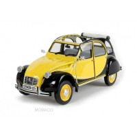 1/8 CITROEN VOITURE MINIATURE DE COLLECTION CITROEN 2CV CHARLESTON JAUNE/NOIR-IXOPREMIUM-XIXOPRD8-004A