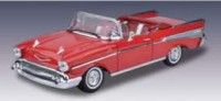 1/18 VOITURE MINIATURE CHEVROLET BEL AIR CABRIOLET 1957 ROUGE-MOTORMAXMMAX73175RD