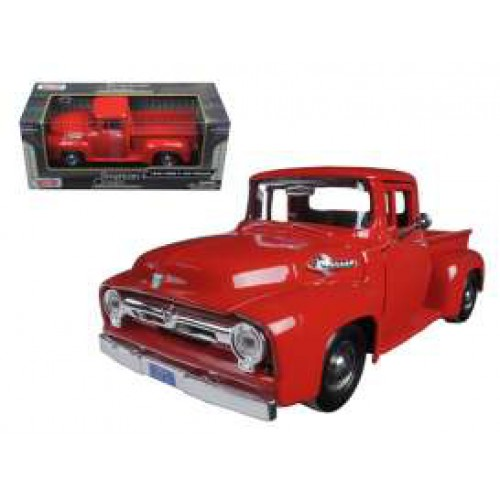 1 24 vehicules utilitaire miniature de collection ford f100 pick up 1956 rouge. Black Bedroom Furniture Sets. Home Design Ideas