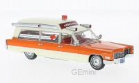 1/43 VEHICULE DE SECOURS MINIATURE Cadillac S&S blanc/orange Ambulance-1966-NEO49539