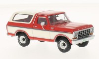 1/43 VEHICULE MINIATURE DE COLLECTION Ford Bronco rouge/blanc-1979-NEO