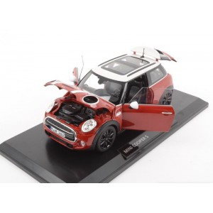 1/18 VOITURE MINIATURE DE COLLECTION MINI COOPER S ROUGE ET BLANC-NOREV