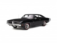 1/12 DODGE VOITURE MINIATURE DE COLLECTION DODGE CHARGER R/T - 1969 Noir / Blanc OTTO MOBILE G032