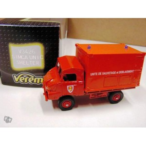 1/55 camion pompier Simca unic shelter Verem MADE IN FRANCE