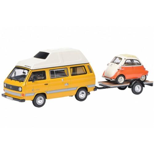 1 43 vw combi volkswagen t3 joker avec remorque et bmw isetta schuco450330300 vente de. Black Bedroom Furniture Sets. Home Design Ideas