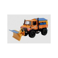 1/32 CAMION MINIATURE MERCEDES-BENZ UNIMOG U1600 DEBLAYEUSE ORANGE-SCHUCO450772500
