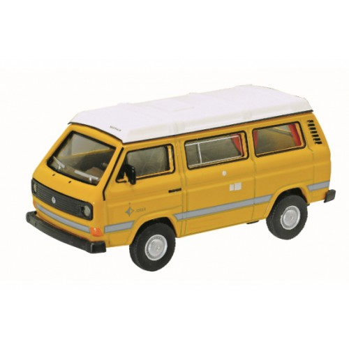1 64 3 inches combi camping car miniature de collection volkswagen vw t3 camper jaune. Black Bedroom Furniture Sets. Home Design Ideas