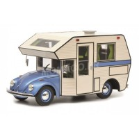 1/18 VW VOLKSWAGEN CAMPING-CAR MINIATURE DE COLLECTION VOLKSWAGEN COCCINELLE CAMPING CAR BLEU-SCHUCO450011400
