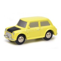 "ECHELLE PICCOLO MINI COOPER VOITURE MINIATURE DE COLLECTION  MINI COOPER ""MR BEAN"" JAUNE-  SCHUCO450133700"