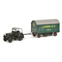 "1/32 DEUTZ AGRICOLE MINIATURE DE COLLECTION DEUTZ F3 AVEC ROULOTTE ""SCHENKER""-SCHUCO450781900"