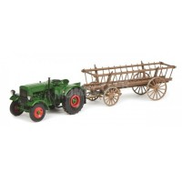 1/32 DEUTZ AGRICOLE MINIATURE DE COLLECTION DEUTZ F3 AVEC REMORQUE A FOINS-SCHUCO450782000