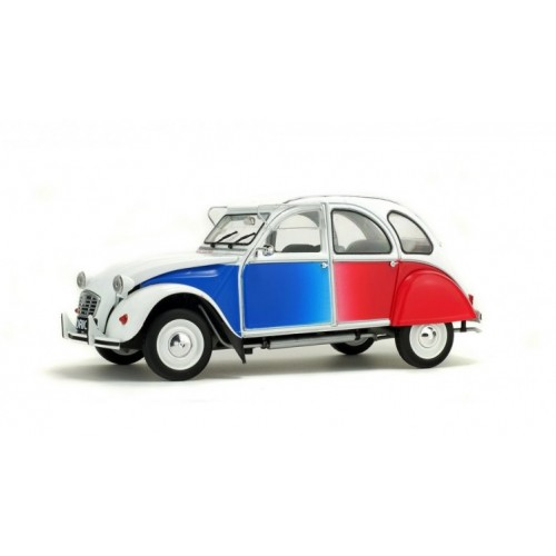 1 18 voiture miniature citroen 2cv cocorico bleu blanc rouge 1986 solido vente de voitures. Black Bedroom Furniture Sets. Home Design Ideas