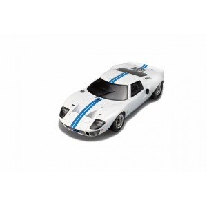 1/18 FORD VOITURE MINIATURE DE COLLECTION FORD GT40 MK1 WIDEBODY 1968 BLANCHE AVEC BANDES BLEUES-SOLIDO-S1803002