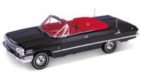 1/18 VOITURE MINIATURE DE COLLECTION CHEVROLET Impala Cabriolet noir-1963-WELLY
