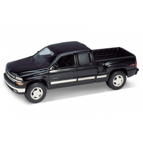 1 24 v hicules utilitaires miniature de collection chevrolet silverado noir 1999. Black Bedroom Furniture Sets. Home Design Ideas