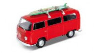 1/32 VW COMBI MINIATURE DE COLLECTION Volkswagen T2 rouge avec surf sur le toit-1972-WELLYWEL42347SB