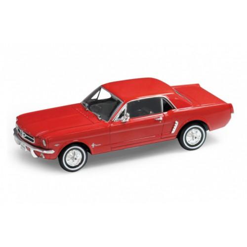 1 24 voiture miniature de collection ford mustang rouge 1964 wellywel22451rt vente de voitures. Black Bedroom Furniture Sets. Home Design Ideas
