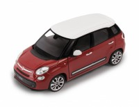 1/24 VOITURE MINIATURE DE COLLECTION Fiat 500 L rouge toit blanc-2013-WELLYWEL24038RED