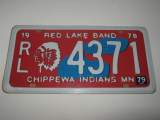 Plaque americaines en tole red lake band chippewa