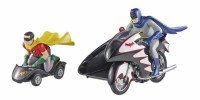 1/12 VEHICULE MINIATURE DE COLLECTION+FIGURINES Batcycle Batman et Robin-1966-HOTWHEELS ELITE