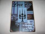 Plaque en metal decor love bougeoirs 20X30CM